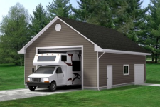 Garage with a RV in