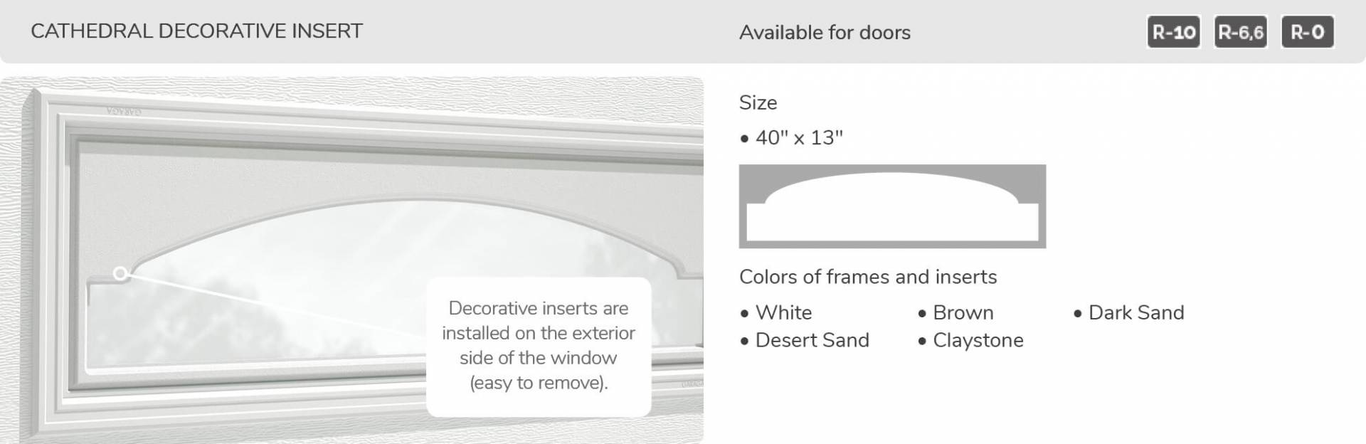 "Cathedral Decorative Insert, 40"" x 13"", available for doors R-10, R-6.6, R-0"