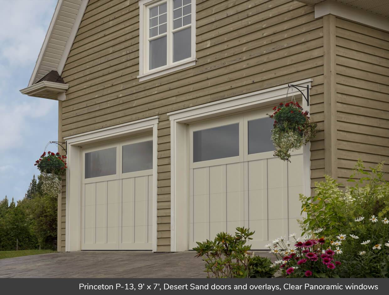 Princeton P-13, 9' x 7', Desert Sand doors and overlays, Clear Panoramic windows